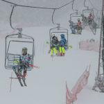 Спортсмены поднимаются по канатной дороге на открытом чемпионате по слалому на горнолыжном курорте Орловка