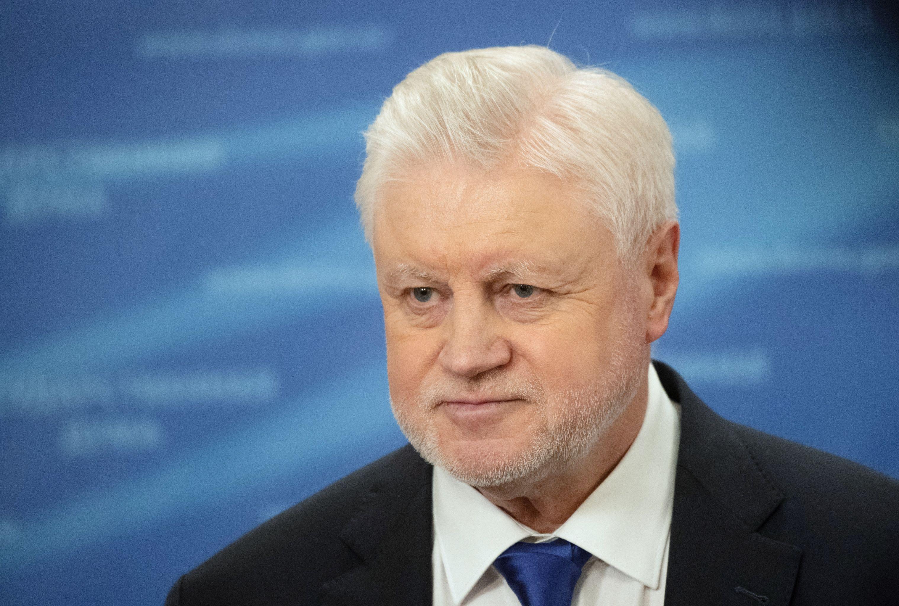 Руководитель фракции Справедливая Россия Сергей Миронов выступает перед журналистами в Государственной Думе РФ. 19 января проводится первое пленарное заседание весенней сессии Госдумы.