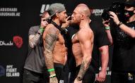 Дастин Порье и Конор МакГрегор во время взвешивания UFC 257 на Etihad Arena на UFC Fight Island в Абу-Даби. Объединенные Арабские Эмираты, 22 января 2021 года