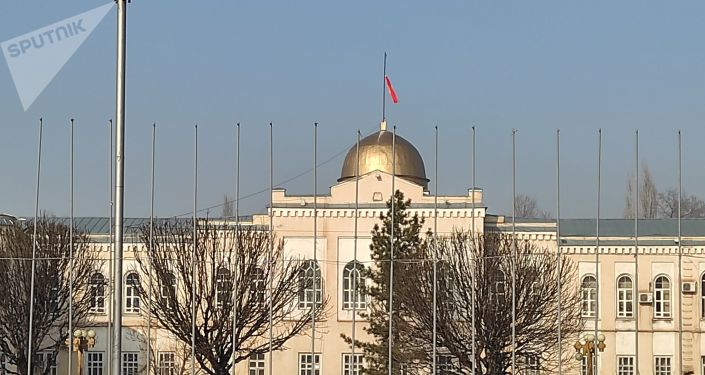 Государственный флаг Кыргызстана, развевающийся над зданием Министерства культуры, информации и туризма в плохом состоянии