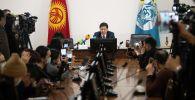 Новый исполняющий обязанности мэра Бишкека Эрмек Нургазиев во время пресс-конференции. 09 февраля 2021 года