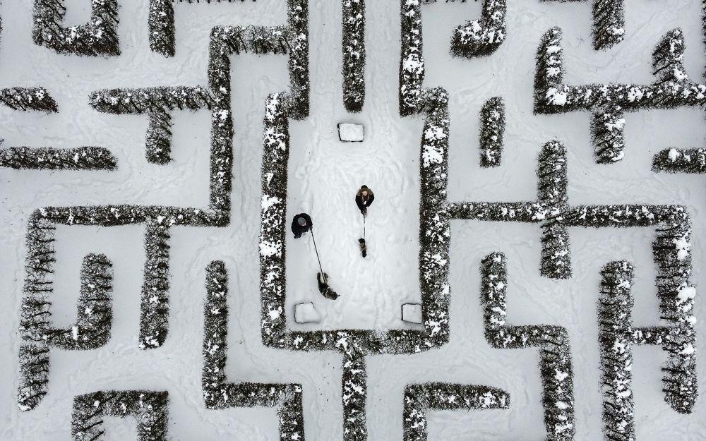 Люди гуляют со своими собаками по заснеженному лабиринту сада в Гельзенкирхене, Германия. 10 февраля 2021 года