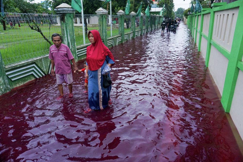 Люди идут по затопленной улице в городе Пекалонган (Индонезия). 6 февраля 2021 года