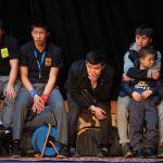 Зрители наблюдают за схваткой на финале чемпионата Кыргызстана по греко-римской борьбе. 18 февраля 2021 года