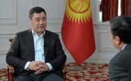Президент Кыргызстана Садыр Жапаров во время интервью МИА Казинформ в преддверии государственного визита в Казахстан
