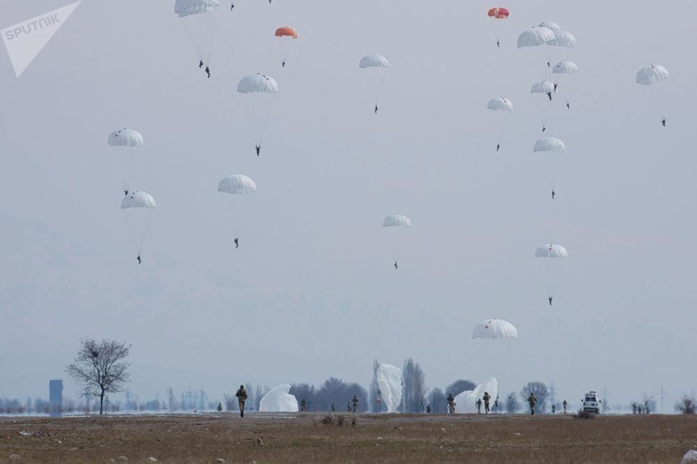 Десантники спецназа Пантера Национальной гвардии ВС КР выполняют учебно-тренировочные прыжки с парашютом на учениях в Чуйской области