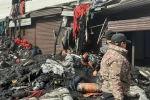 Пожар в текстильном магазине близ рынка Дордой