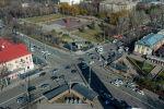 Вид с дрона на пересечение проспекта Чуй с улицей Абдрахманова в центре Бишкека