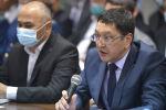 Министр чрезвычайных ситуаций Бообек Ажикеев на выездном совещании премьер-министра КР Улукбека Марипова с участием представителей строительных компаний, мэрии города Бишкек и государственных структур