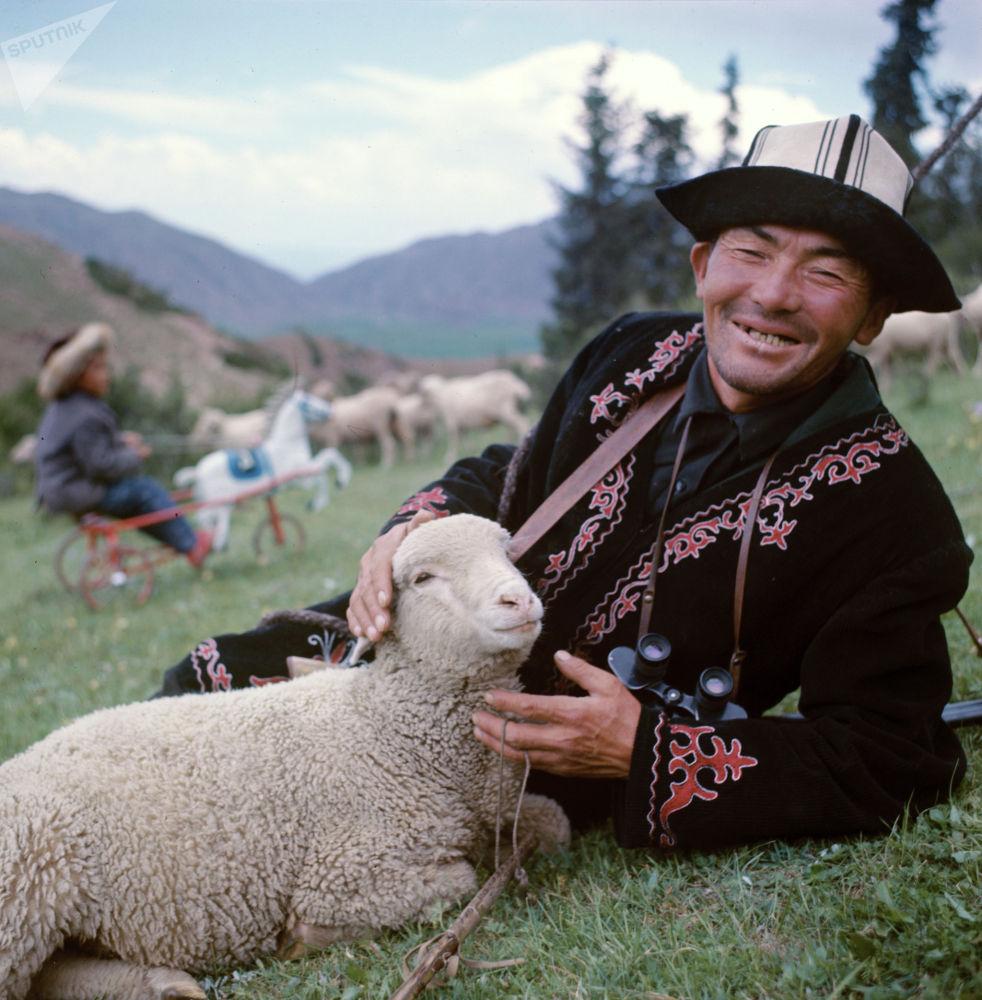 Ленин колхозунун чабаны Абдыкадыр Баялиев, 1970-жыл