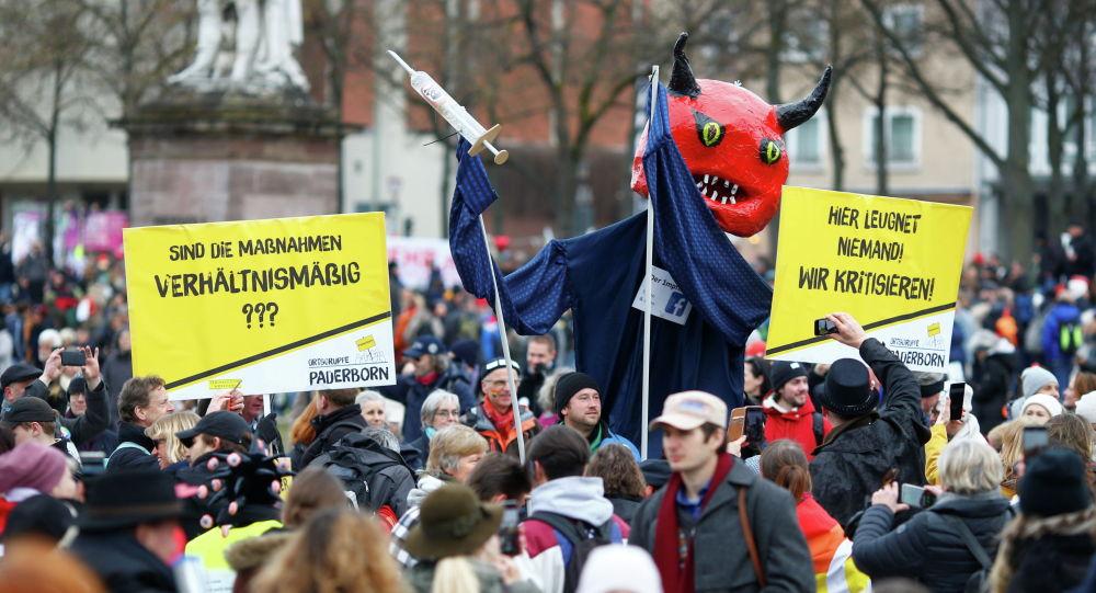 Акция протеста против мер по борьбе с коронавирусом в Касселе, Германия