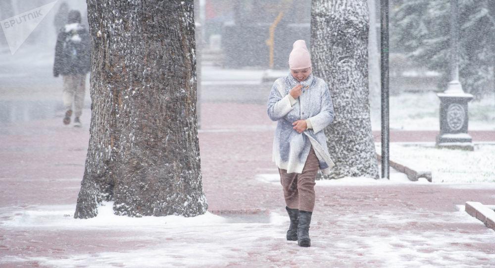 Бишкектеги бороондо бараткан кыз