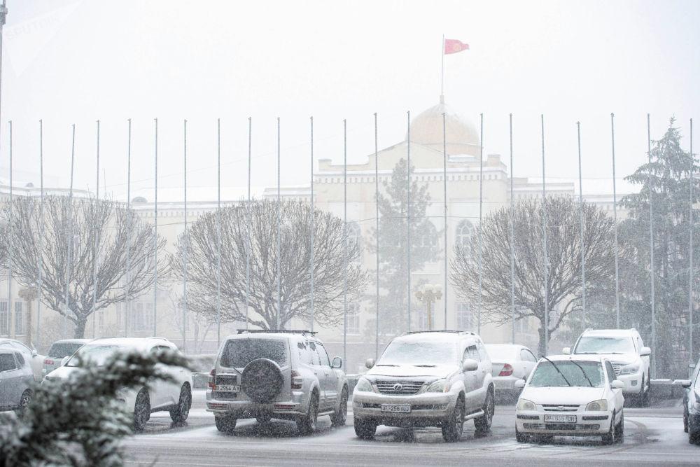 Вид на припаркованные автомобили на площади Ала-Тоо в Бишкеке во время снежной бури