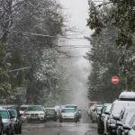 Автомобили на одной из улиц Бишкека во время апрельской снежной бури
