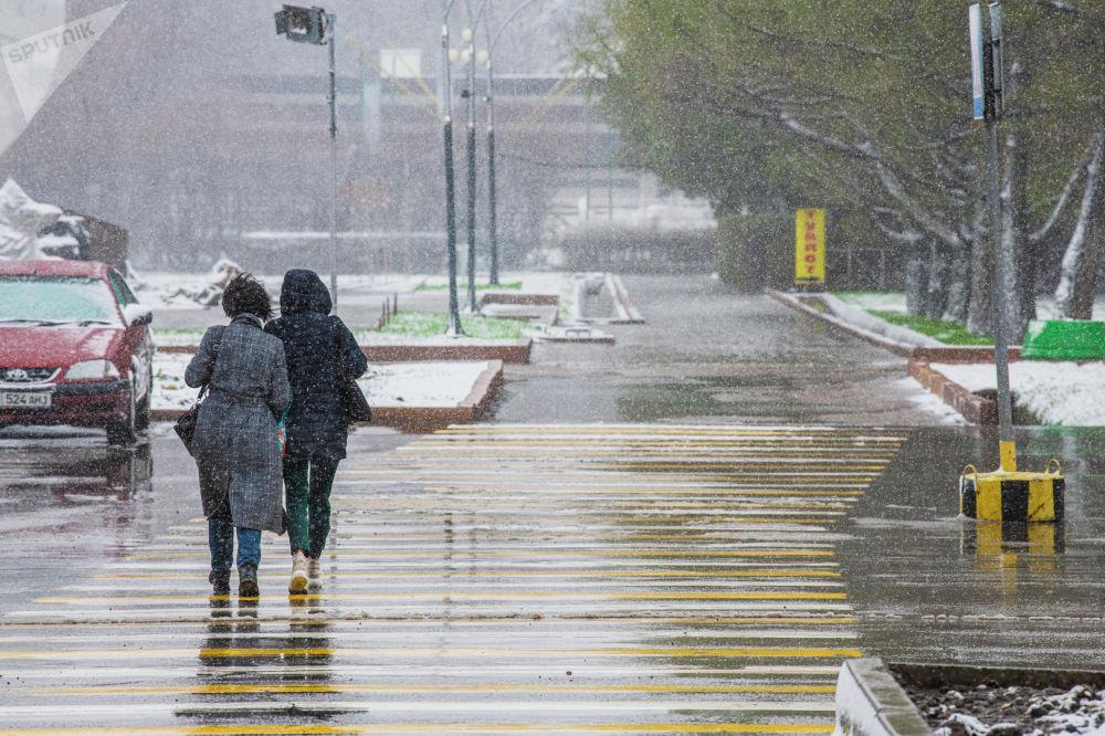 Девушки переходят дорогу во время апрельской снежной бури в Бишкеке