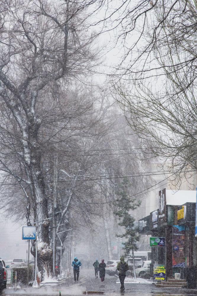 Люди идут на одной из улиц Бишкека во время апрельской снежной бури