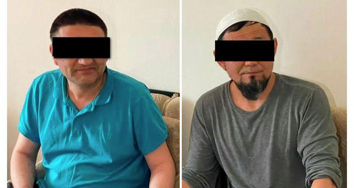Задержанные гражданин Узбекистана и гражданин Кыргызстана, 1974 года рождения с 7,5 кг гашиша. 02 апреля 2021 года