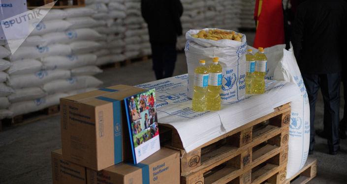 Церемония передачи российской продовольственной помощи Кыргызстану в Бишкеке. 05 апреля 2021 года