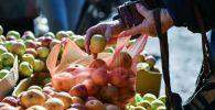 Пожилая женщина покупает яблоки. Архивное фото