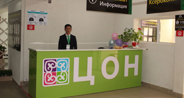 Сотрудник центра обслуживания населения в формате open space в Ак-Сууйской районе. 16 апреля 2021 года