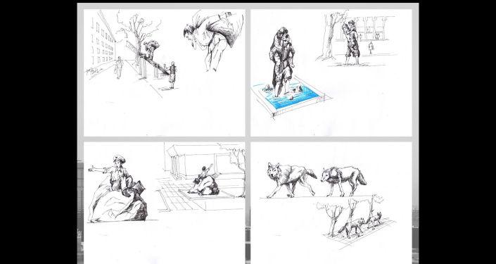 Зарисовки креативных скульптур в Бишкеке