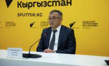 Вице-премьер — министр экономики и финансов Улукбек Кармышаков на брифинге в мультимедийном пресс-центре Sputnik Кыргызстан