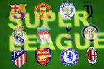 Логотипы ведущих футбольных клубов Европы вошедшие в Суперлигу видны на этой иллюстрации. 19 апреля 2021 года