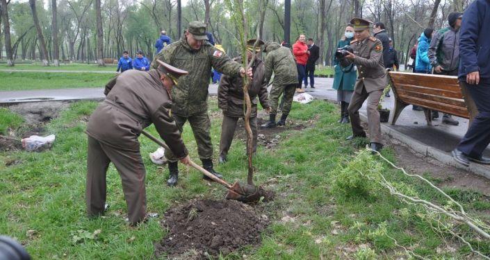 Торжественная церемония посадки деревьев, приуроченная к 76-й годовщине Победы в Великой Отечественной войне в Бишкеке