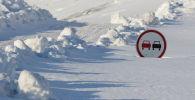 Дорожный знак в снегу. Архивное фото
