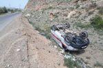 Перевернутая машина скорой помощи в Баткенской области на границе с Таджикистаном