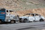 Баткен облусунун Баткен районунда өрттөрлөн унаалар