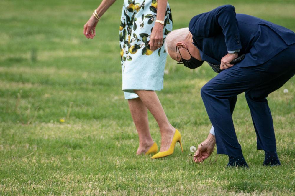 Президент США Джо Байден на лужайке возле Белого дома сорвал одуванчик, чтобы подарить первой леди Джилл Байден