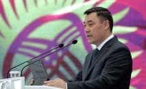 Президент Садыр Жапаров во время выступления