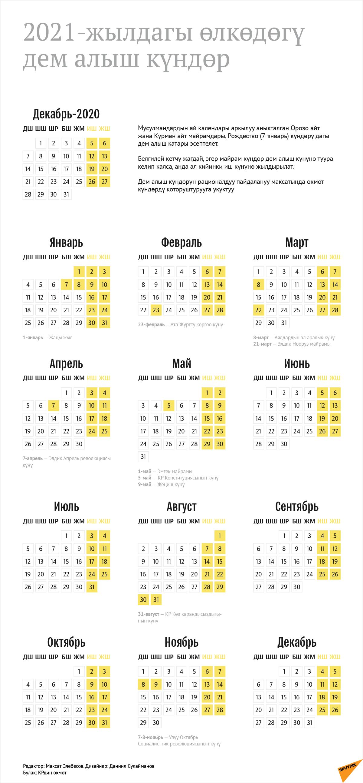 2021-жылдагы өлкөдөгү дем алыш күндөр