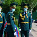 Военнослужащие Нацгвардии КР во время празднования 76-й годовщины Дня Победы