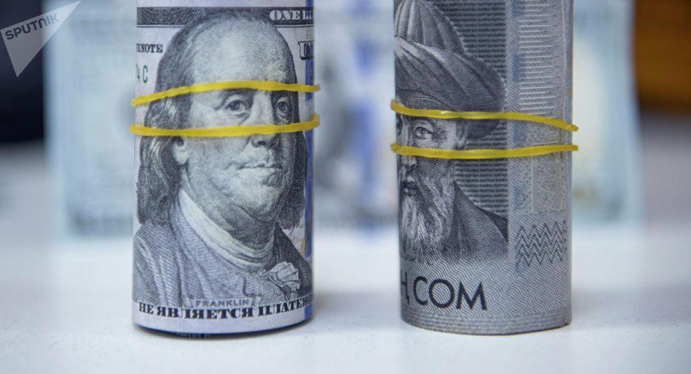 Пачка долларовых и сомовых купюр. Иллюстративное фото