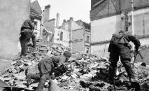 Советские солдаты ведут бой на одной из улиц Берлина. 1945 год