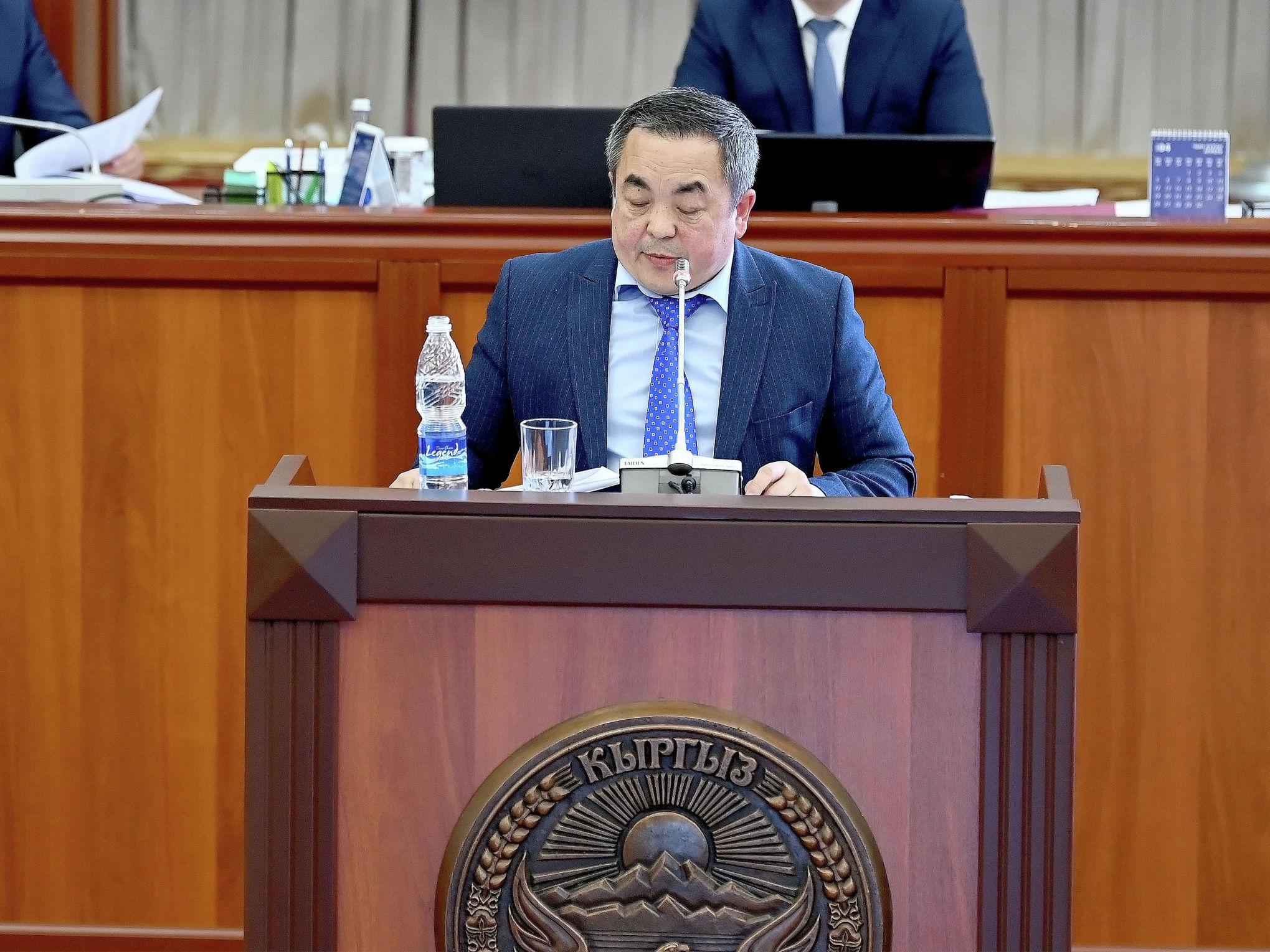 Член совета директоров Centerra Gold Inc. Тенгиз Болтурук на внеочередном заседании Жогорку Кенеша