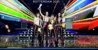 Maneskin из Италии выходит на сцену после победы на конкурсе песни Евровидения-2021 в Роттердаме, Нидерланды. 23 мая 2021 года