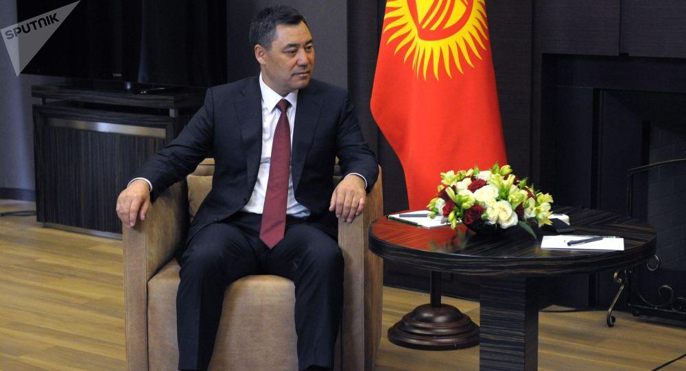 Президент Кыргызстана Садыр Жапаров во время встречи с президентом РФ Владимиром Путиным в Сочи