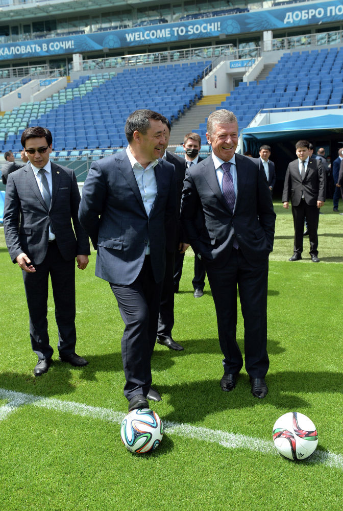 Президент Кыргызстана Садыр Жапаров во время посещения Олимпийского парка в Сочи в рамках визита в Российскую Федерацию