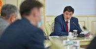 Председатель кабинета министров КР Улукбек Марипов на совещании по обсуждению перечня лекарственных средств и медицинских изделий, освобожденных от НДС. 26 мая 2021 года