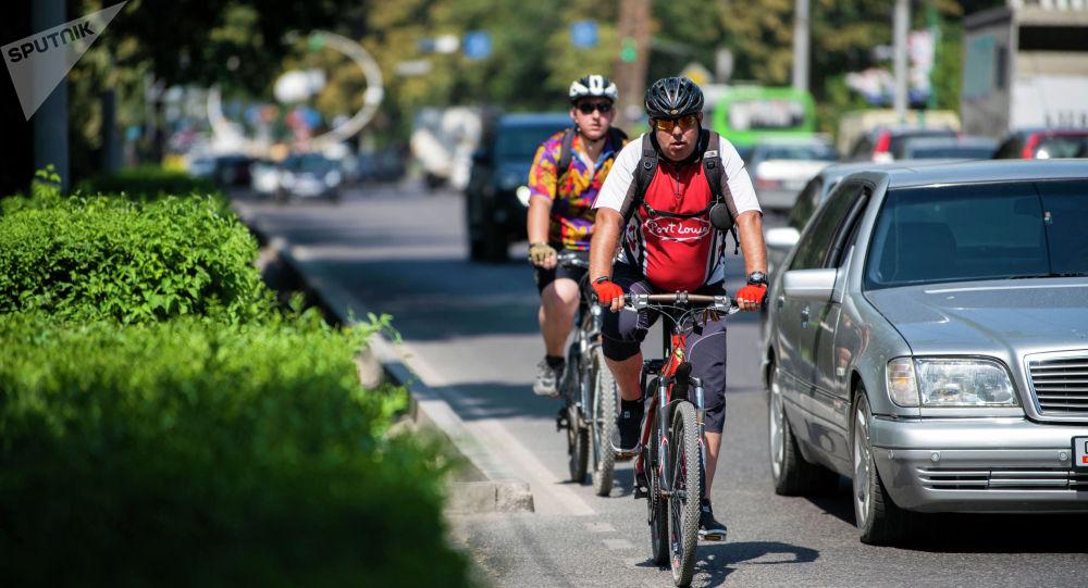 Велосипедисты едут вдоль дороги в Бишкеке. Архивное фото