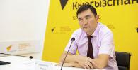 Ректор Кыргызского государственного технического университета Мирлан Чыныбаев на брифинге в мультимедийном пресс-центре Sputnik Кыргызстан