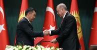 Президент Кыргызстана Садыр Жапаров и президент Турции Реджеп Тайип Эрдоган во время во время встречи в Анкаре. Архивное фото