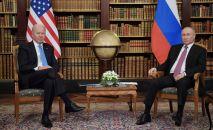 16 июня 2021. Президент РФ Владимир Путин и президент США Джо Байден во время встречи в Женеве на вилле Ла Гранж.