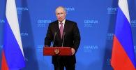 Президент России Владимир Путин проводит пресс-конференцию после саммита с президентом США Джо Байденом на вилле La Grange в Женеве, Швейцария. 16 июня 2021 года
