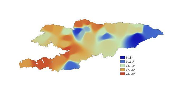 Среднемесячная температура по Кыргызстану в июле 2021 года