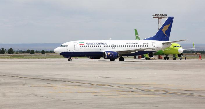 Первый рейс Мешхед - Бишкек - Мешхед, после длительного перерыва из-за пандемии, в международном аэропорту Манас в Бишкеке