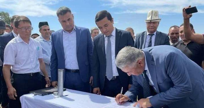 Церемония запуска строительства логистического центра в Ала-Букинском районе на границе с Узбекистаном